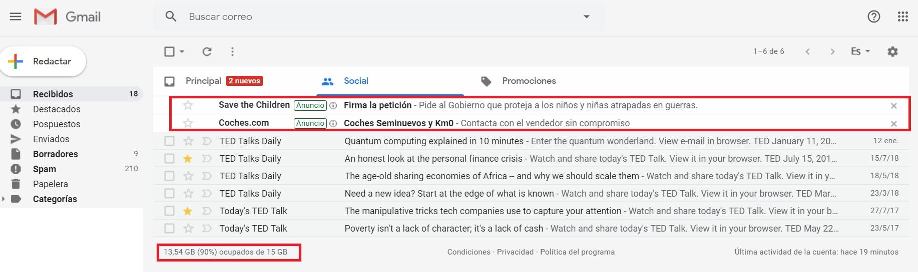 Publicidad en el Gmail