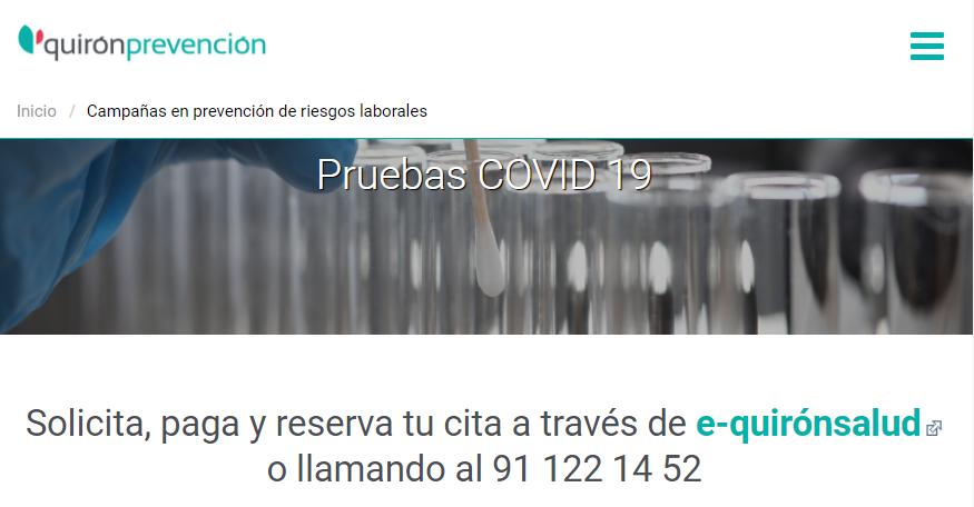 Quirón Prevención pruebas COVID