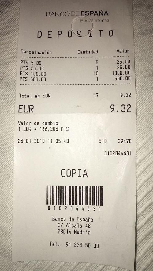 Recibo Banco de España cambio de pesetas a euros