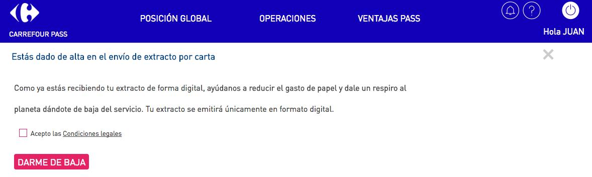 Recibo digital Carrefour Pass