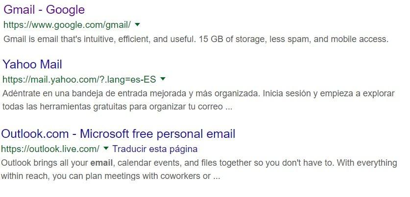 Reclamos de los principales correos webmail