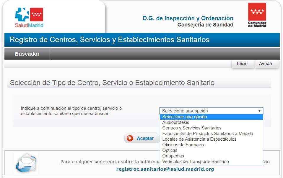 Registro de Centros, Servicios y Establecimientos Sanitarios Comunidad de Madrid