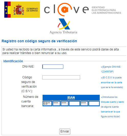 Registro en sistema Cl@ve