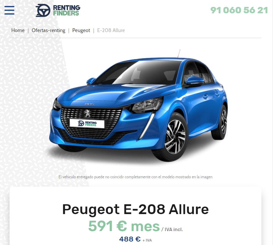 Renting Finders Peugeot E-208 Allure