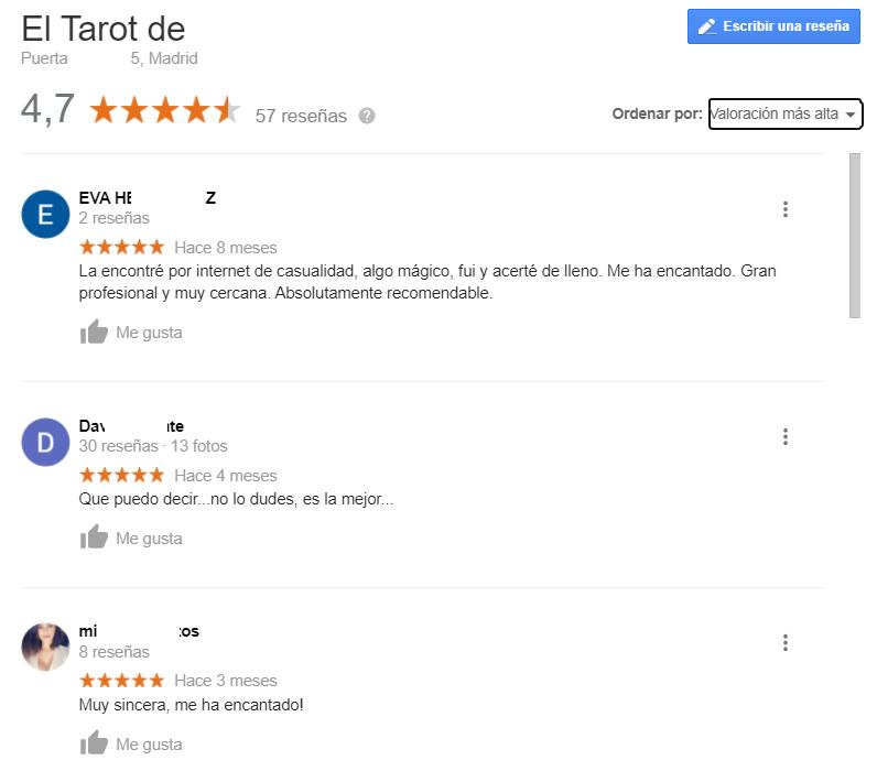 Reseñas tarot en Google