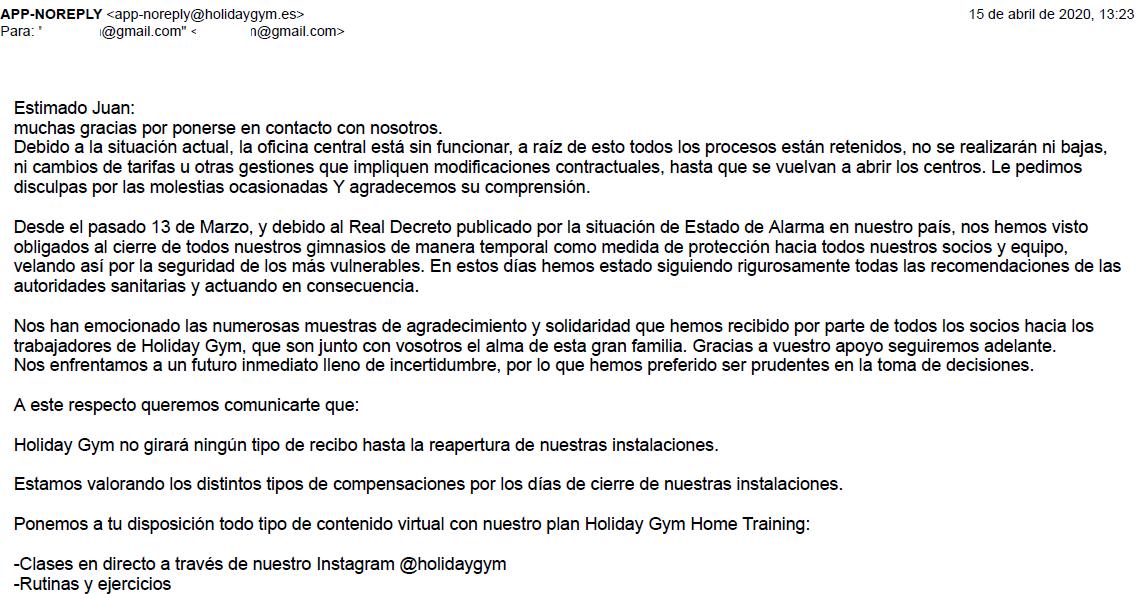 Respuesta de Holiday Gym a la petición de baja 15 abril 2020