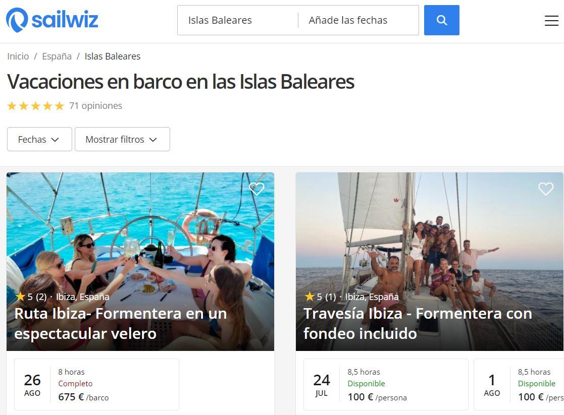 Sailwiz página Islas Baleares