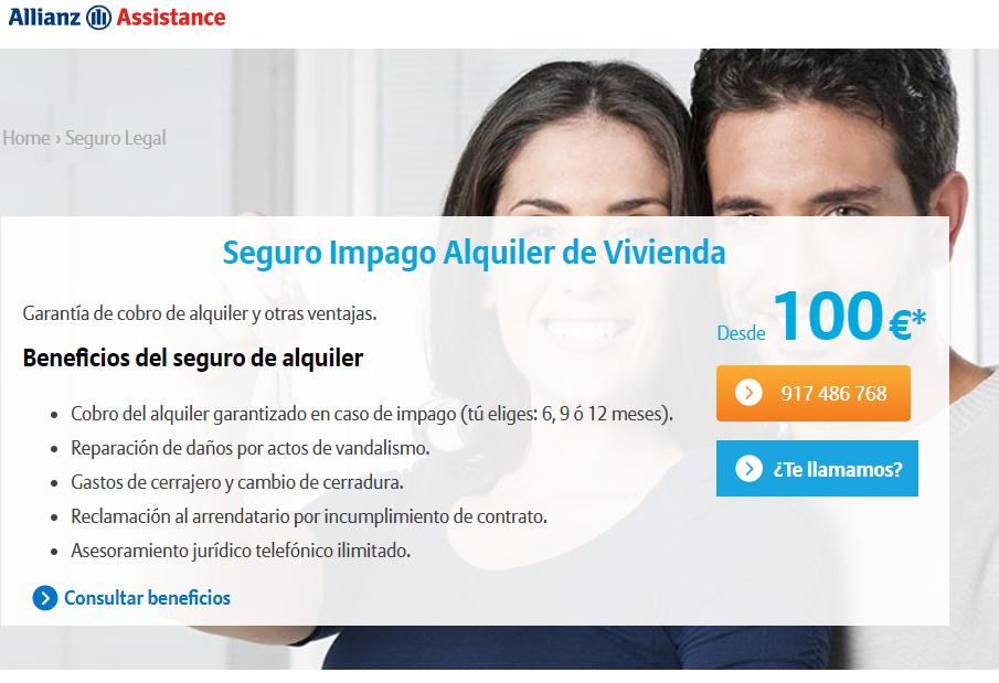 Seguro impago alquiler de vivienda Allianz Assistance