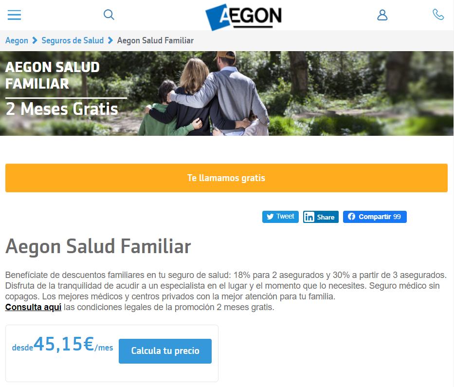 Seguro médico familiar de AEGON