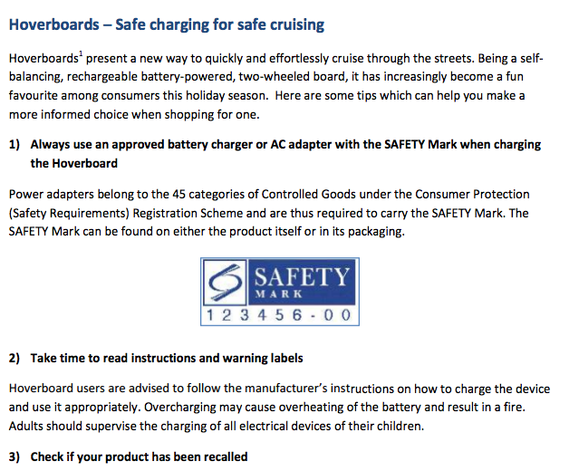 Singapur Hoverboards Safety