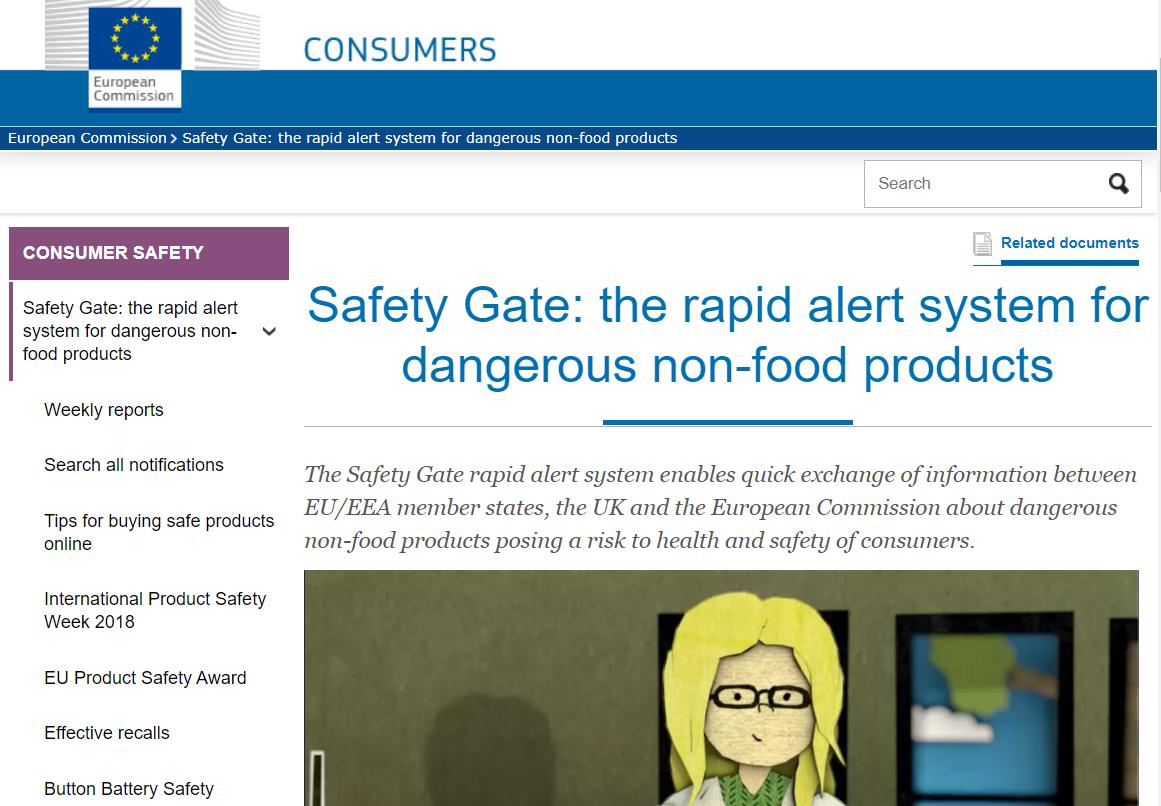 Sistema de alerta rápida Safety Gate