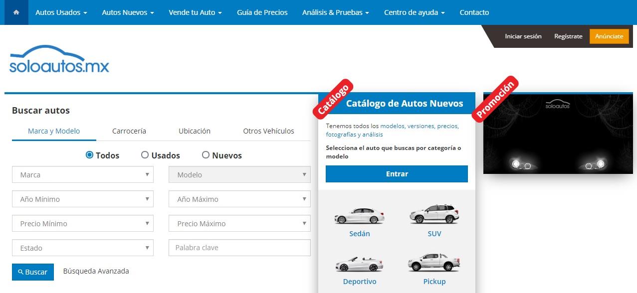 Soloautos.mx homepage