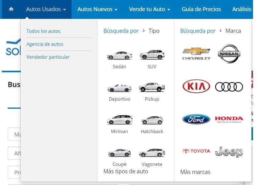 Soloautos.mx menu de navegación web