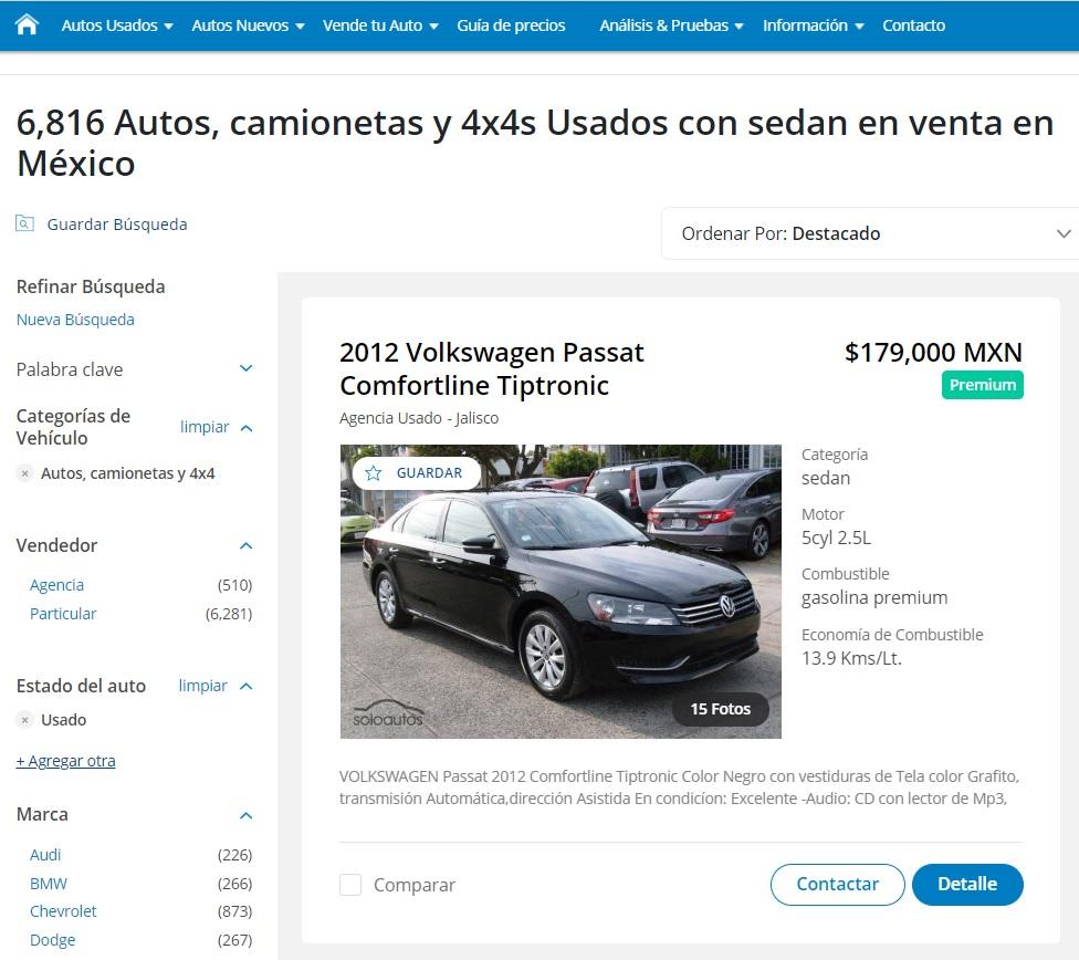 Soloautos.mx sedanes usados