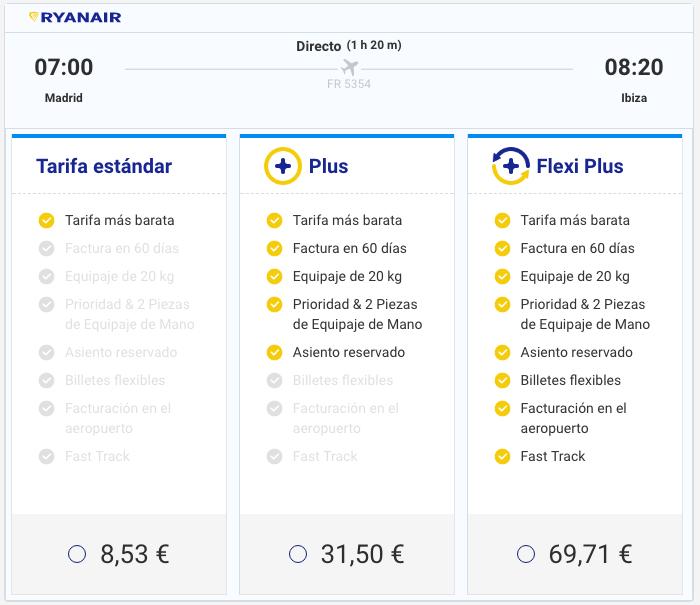Tarifas Ryanair