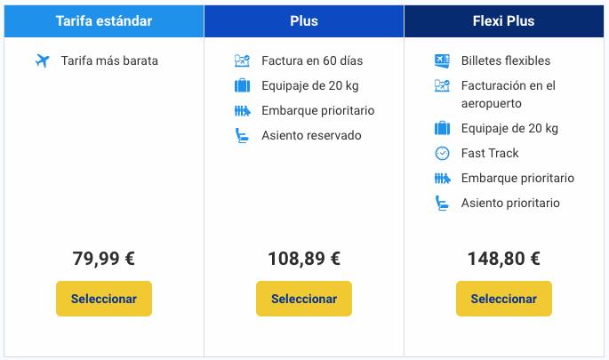 Tarifas billetes Ryanair 09 2017