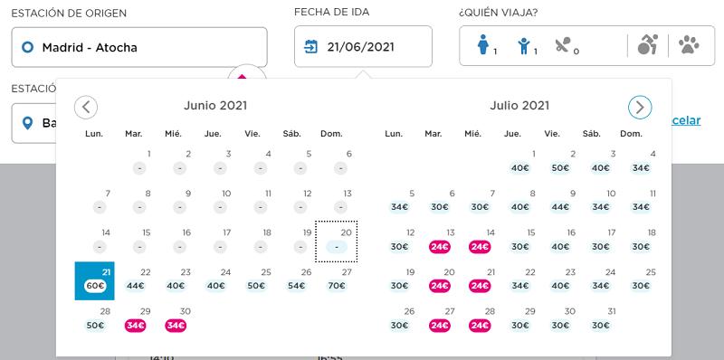 Tarifas de precios Ouigo Madrid-Barcelona