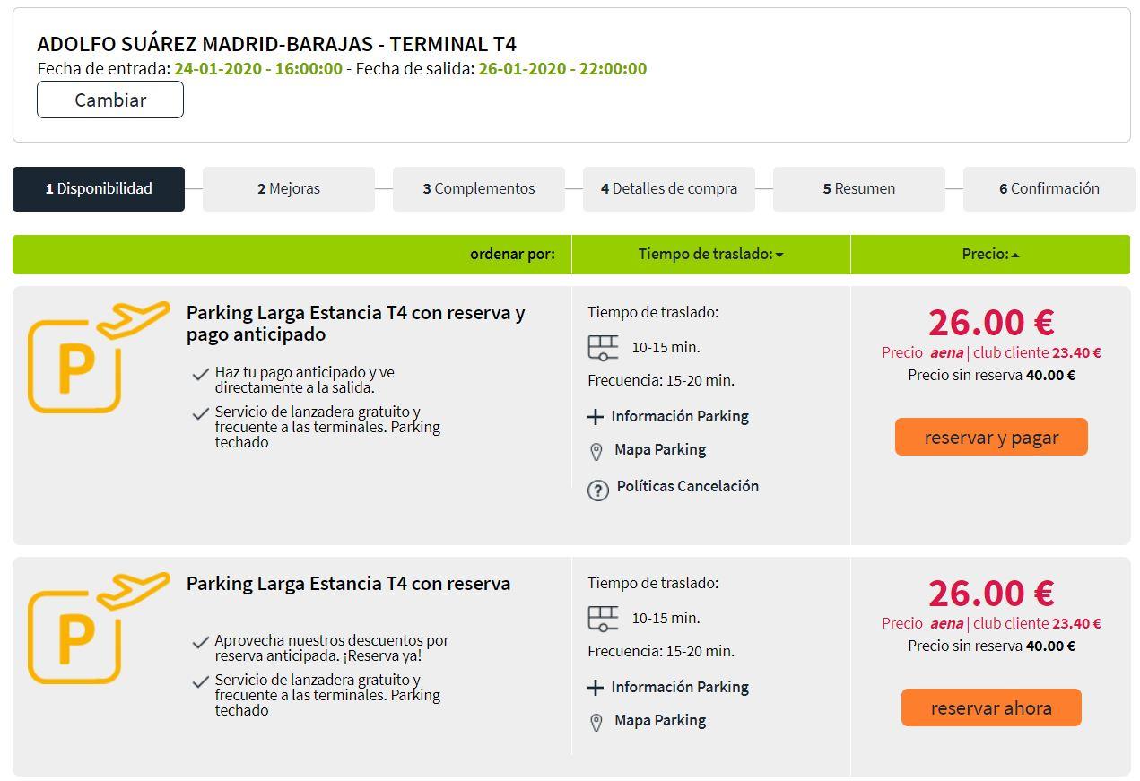 Tarifas parking T4 Barajas