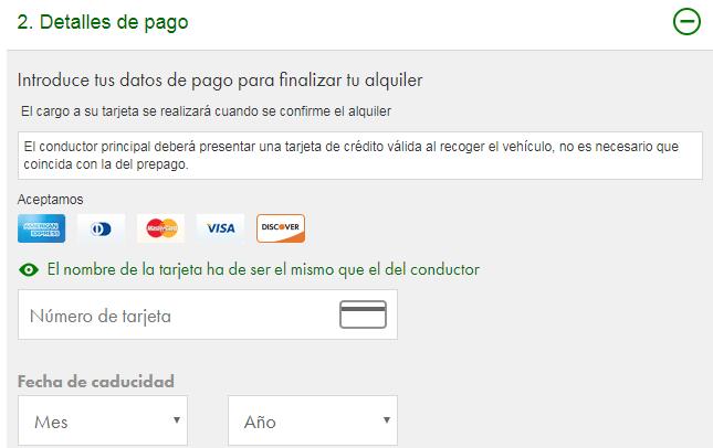 Tarjeta de crédito Europcar