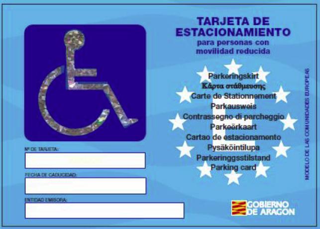 Tarjeta de estacionamiento de vehículos PMRs Aragón