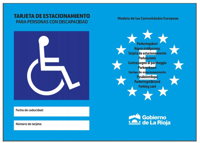 Tarjeta estacionamiento para personas con discapacidad La Rioja anverso