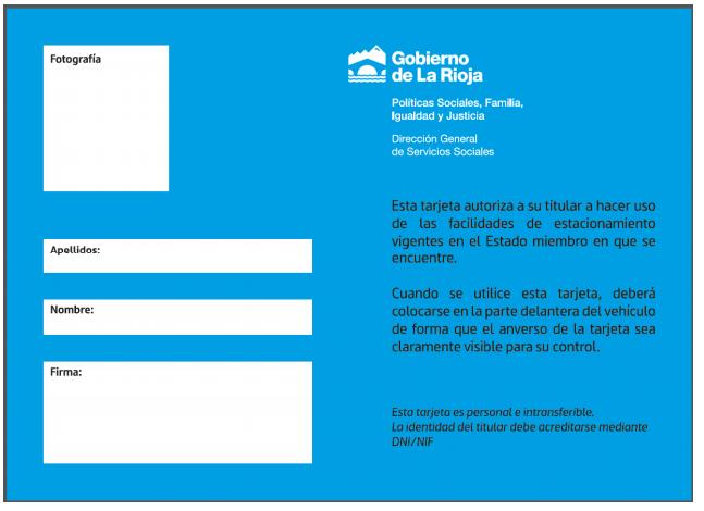 Tarjeta estacionamiento para personas con discapacidad La Rioja reverso