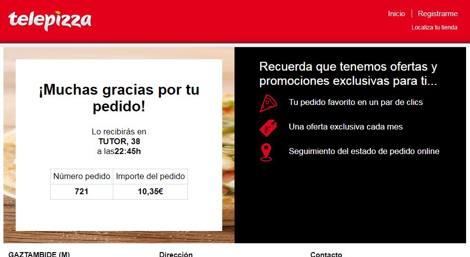 Telepizza. Confirmación de un pedido