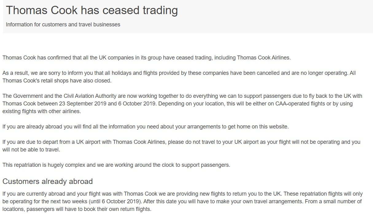 Thomas Cook has ceased trading CAA