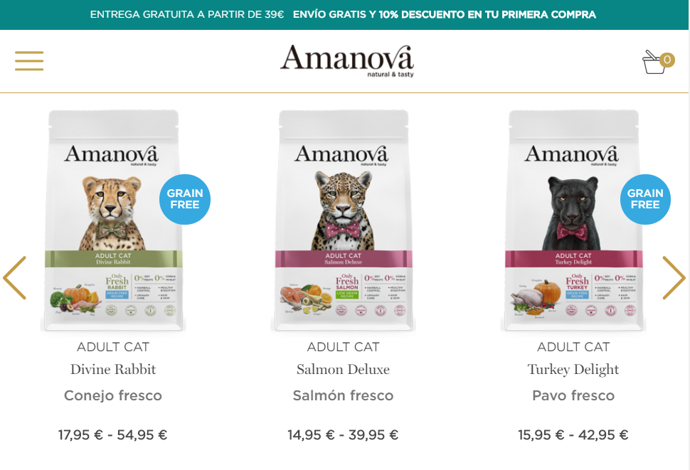 Tienda online para gatos Amanova