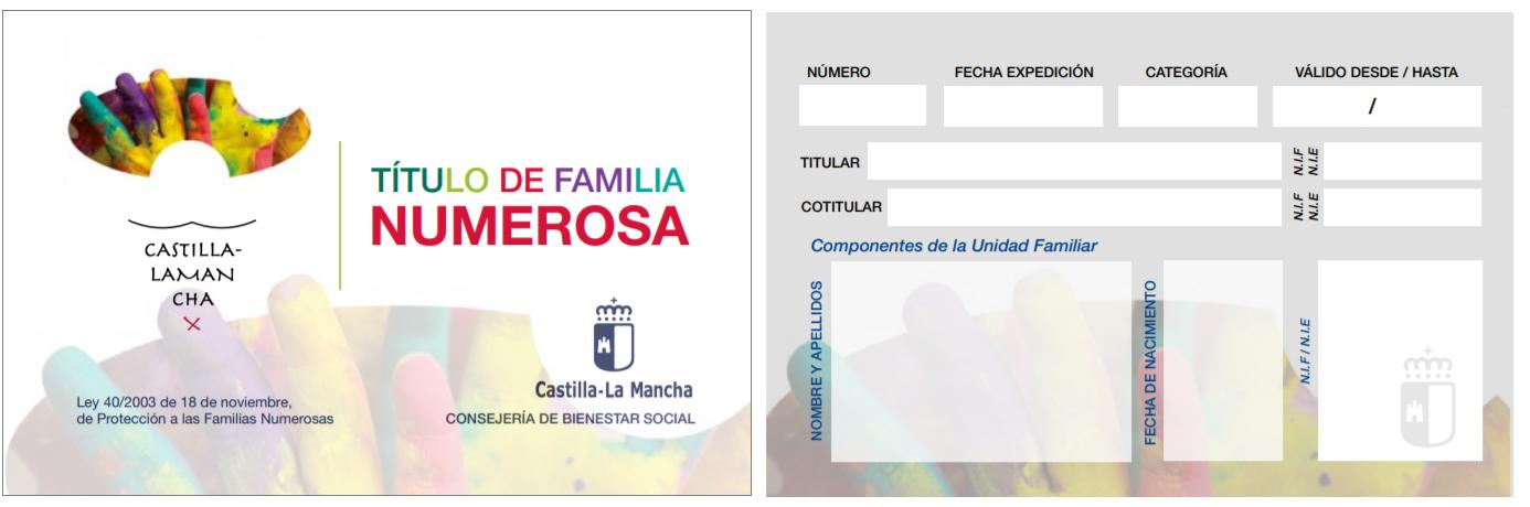Titulo de familia numerosa Castilla La Mancha