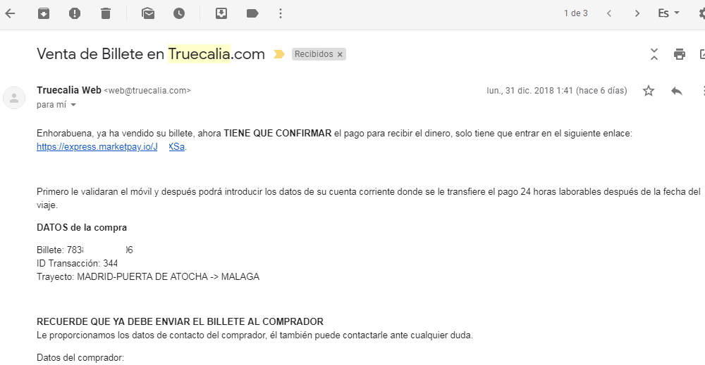 Truecalia confirmacion venta billete