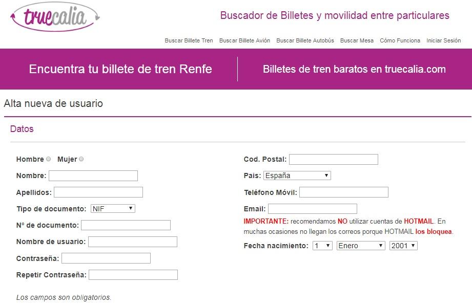 Truecalia registro de usuario