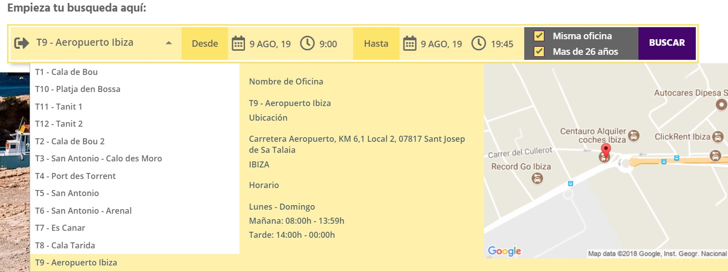 Turbo Rent A Car Oficinas en Ibiza y Formentera