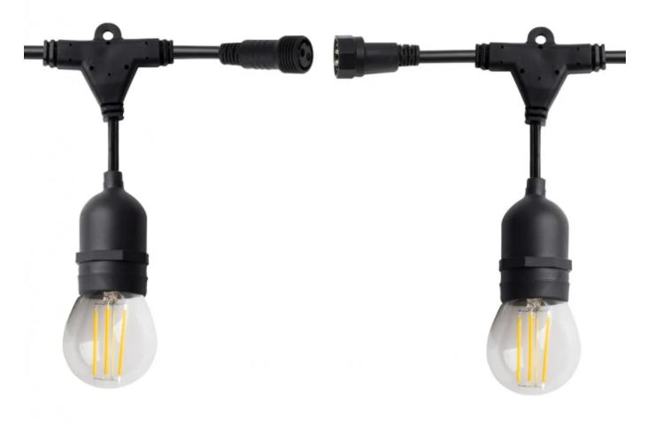 Unión de dos guirnaldas de luces Led por uno de sus extremos