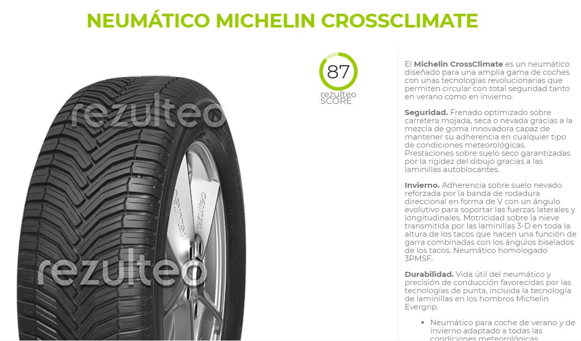 Valoración neumático Michelin crossclimate Rezulteo