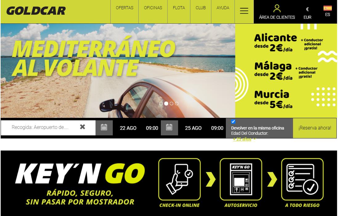 Web de Goldcar