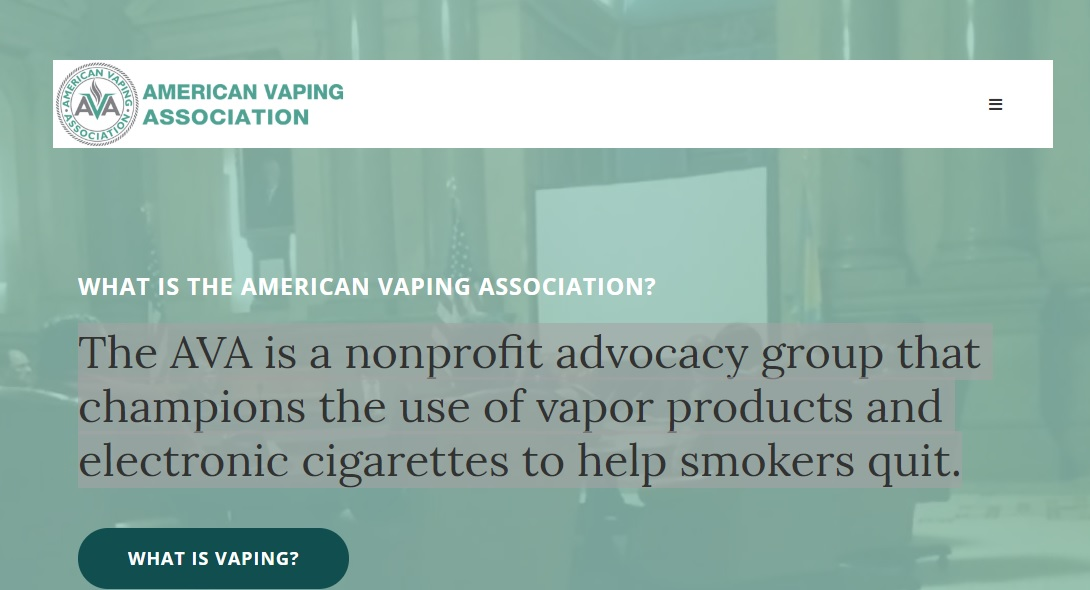 Web de la American Vaping Association AVA