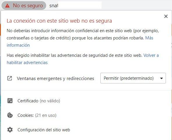 Web sin certificado de seguridad SSL 2