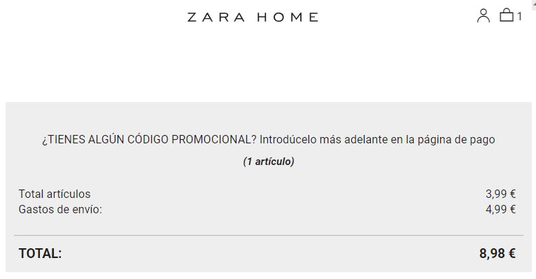 Zara Home pedido mínimo y gastos de envío