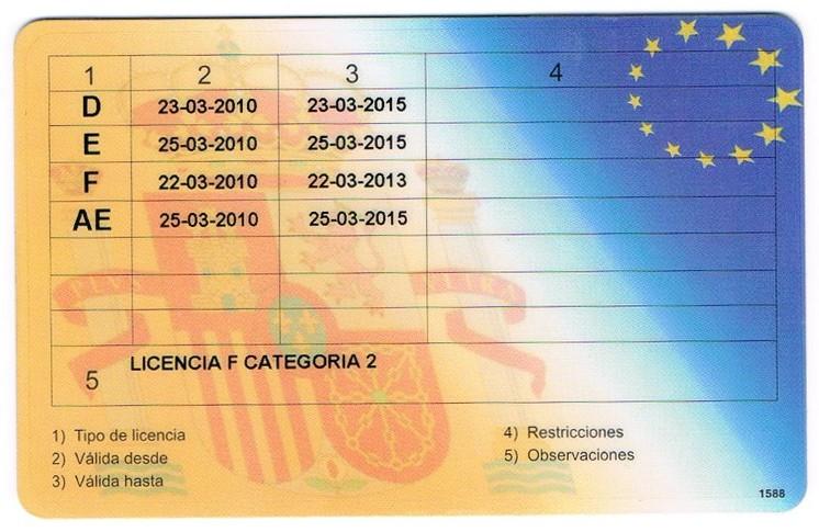 Licencia de armas (reverso)