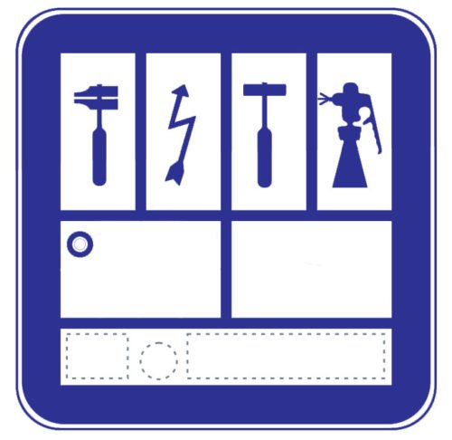 Placa distintivo de un taller